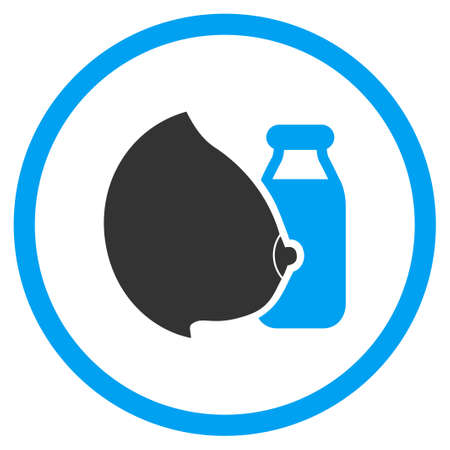 Mother Milk vector icon. Style is bicolor flat circled symbol, blue and gray colors, rounded angles, white background.