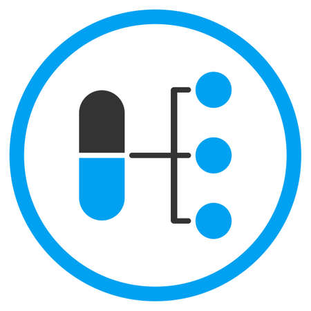 medical distribution: Pharmacy Distribution vector icon. Style is bicolor flat circled symbol, blue and gray colors, rounded angles, white background.