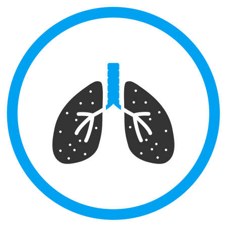 chest cavity: Respiratory System vector icon. Style is bicolor flat circled symbol, blue and gray colors, rounded angles, white background. Illustration