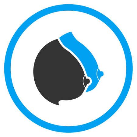 tetas: Lady Tetas icono del vector. El estilo es s�mbolo de un c�rculo bicolor plana, colores azul y gris, �ngulos redondeados, fondo blanco.