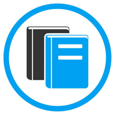 periodicals: Library vector icon. Style is bicolor flat circled symbol, blue and gray colors, rounded angles, white background.
