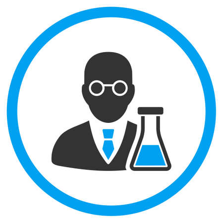 Chemist vector icon. Style is bicolor flat circled symbol, blue and gray colors, rounded angles, white background.