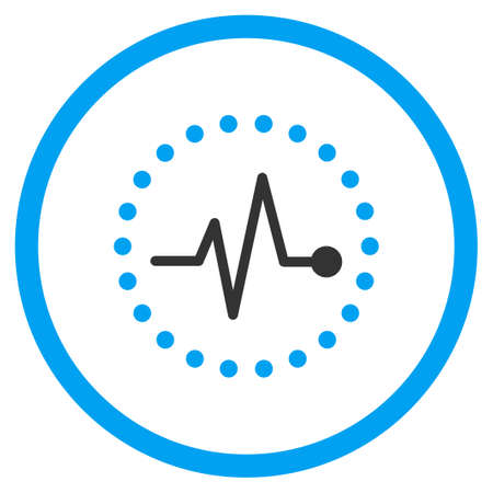 cardiograph: Pulse glyph icon. Style is bicolor flat circled symbol, blue and gray colors, rounded angles, white background.