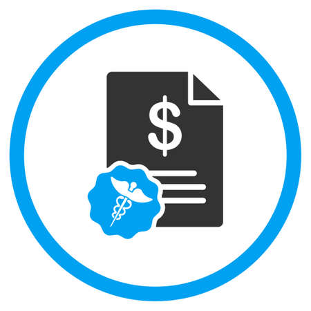 medical bill: Medical Bill glyph icon. Style is bicolor flat circled symbol, blue and gray colors, rounded angles, white background.