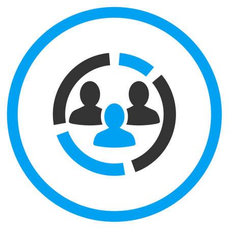 demografia: Demografía Diagrama del icono del vector. El estilo es símbolo de un círculo bicolor plana, colores azul y gris, ángulos redondeados, fondo blanco.