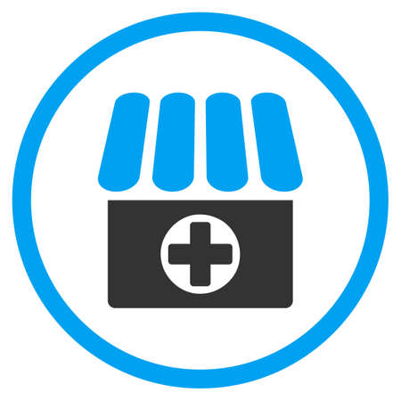 selected: Apothecary vector icon. Style is bicolor flat circled symbol, blue and gray colors, rounded angles, white background. Illustration
