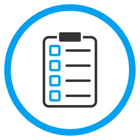 selected: Examination vector icon. Style is bicolor flat circled symbol, blue and gray colors, rounded angles, white background.