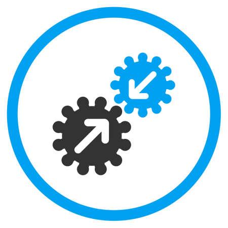 La integración del vector del icono. El estilo es símbolo de un círculo bicolor plana, colores azul y gris, ángulos redondeados, fondo blanco. Ilustración de vector