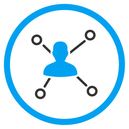distribute: Person Connections vector icon. Style is bicolor flat circled symbol, blue and gray colors, rounded angles, white background.
