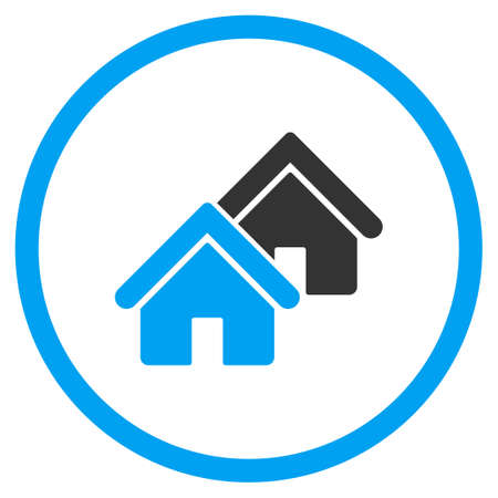 rural development: Realty vector icon. Style is bicolor flat circled symbol, blue and gray colors, rounded angles, white background. Illustration
