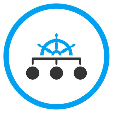 sovereignty: Rule vector icon. Style is bicolor flat circled symbol, blue and gray colors, rounded angles, white background.