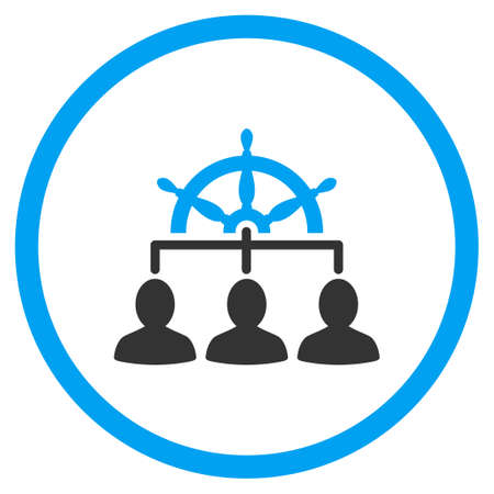 Staff Management vector icon. Style is bicolor flat circled symbol, blue and gray colors, rounded angles, white background.