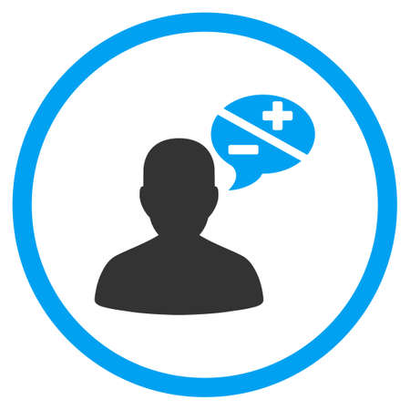 arguments: Arguments glyph icon. Style is bicolor flat circled symbol, blue and gray colors, rounded angles, white background.