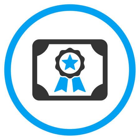 attest: Certificate glyph icon. Style is bicolor flat circled symbol, blue and gray colors, rounded angles, white background.