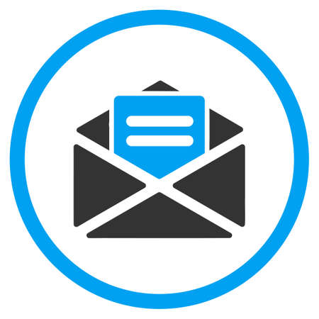 circled: Open Mail glyph icon. Style is bicolor flat circled symbol, blue and gray colors, rounded angles, white background.
