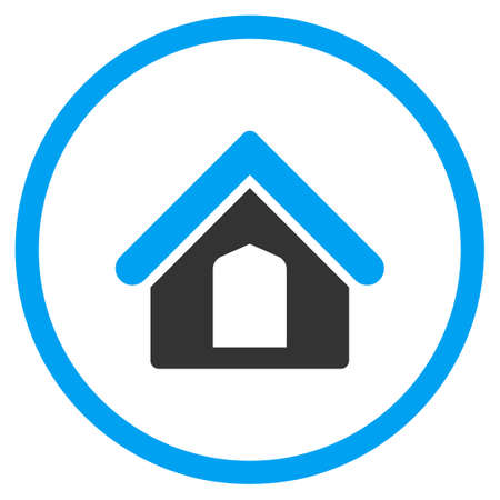 Home glyph icon. Style is bicolor flat circled symbol, blue and gray colors, rounded angles, white background.