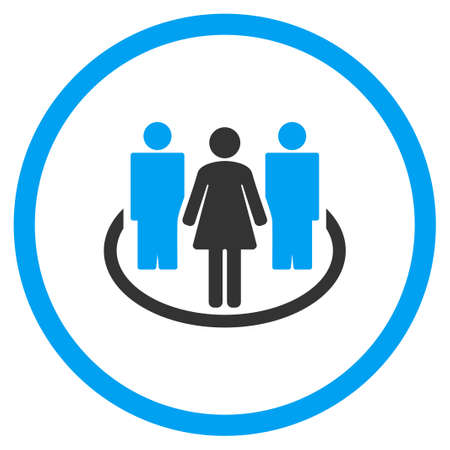 Society glyph icon. Style is bicolor flat circled symbol, blue and gray colors, rounded angles, white background.