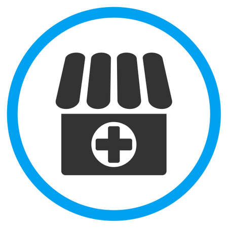 circled: Drug Shop glyph icon. Style is bicolor flat circled symbol, blue and gray colors, rounded angles, white background.