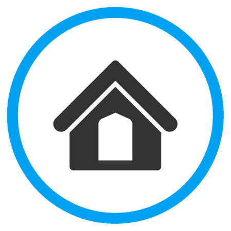 dwelling: Home glyph icon. Style is bicolor flat circled symbol, blue and gray colors, rounded angles, white background.