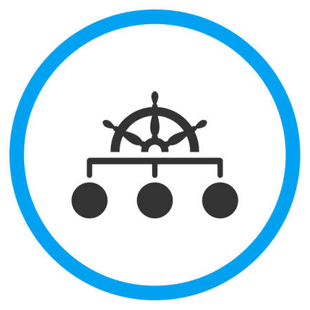 govern: Management glyph icon. Style is bicolor flat circled symbol, blue and gray colors, rounded angles, white background.