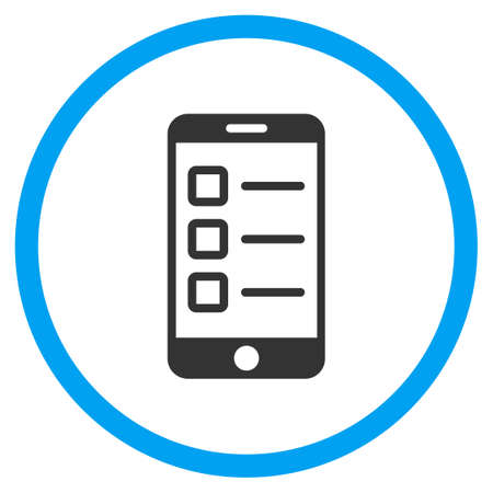 electronic voting: Mobile Test glyph icon. Style is bicolor flat circled symbol, blue and gray colors, rounded angles, white background.