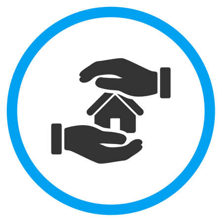 surety: Realty Insurance glyph icon. Style is bicolor flat circled symbol, blue and gray colors, rounded angles, white background.