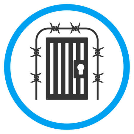 barbed wire frame: Prison Entrance glyph icon. Style is bicolor flat circled symbol, blue and gray colors, rounded angles, white background. Stock Photo