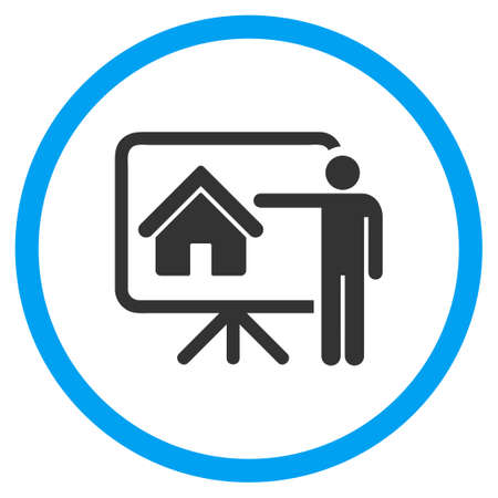 realtor: Realtor Presentation glyph icon. Style is bicolor flat circled symbol, blue and gray colors, rounded angles, white background.