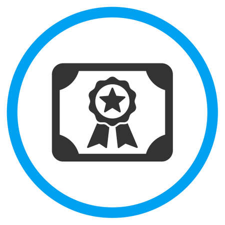 attest: Certificate vector icon. Style is bicolor flat circled symbol, blue and gray colors, rounded angles, white background.