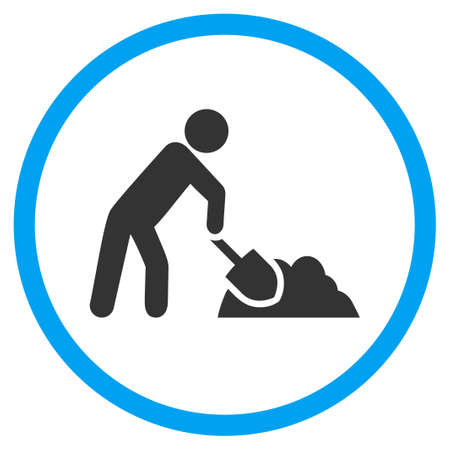 digger: Digger Job vector icon. Style is bicolor flat circled symbol, blue and gray colors, rounded angles, white background.