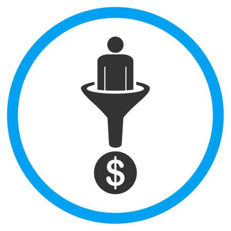 Customer Filter vector icon. Stijl is bicolor vlak omcirkeld symbool, blauwe en grijze kleuren, afgeronde hoeken, een witte achtergrond.