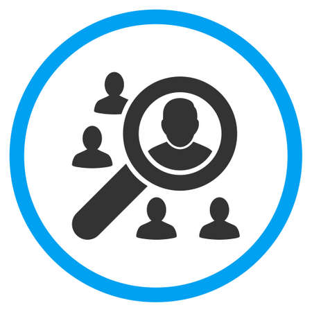 locate: Locate Client vector icon. Style is bicolor flat circled symbol, blue and gray colors, rounded angles, white background.