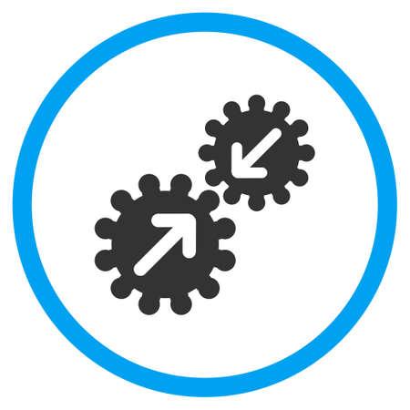 Engranajes Integración del icono del vector. El estilo es símbolo de un círculo bicolor plana, colores azul y gris, ángulos redondeados, fondo blanco. Ilustración de vector