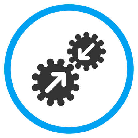 integration: Gears Integration vector icon. Style is bicolor flat circled symbol, blue and gray colors, rounded angles, white background. Illustration
