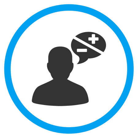 arguments: Person Arguments vector icon. Style is bicolor flat circled symbol, blue and gray colors, rounded angles, white background.
