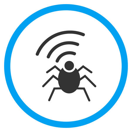 cia: Radio Spy Bug vector icon. Style is bicolor flat circled symbol, blue and gray colors, rounded angles, white background.