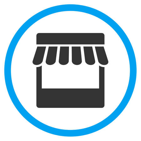 frontage: Store Facade vector icon. Style is bicolor flat circled symbol, blue and gray colors, rounded angles, white background. Illustration