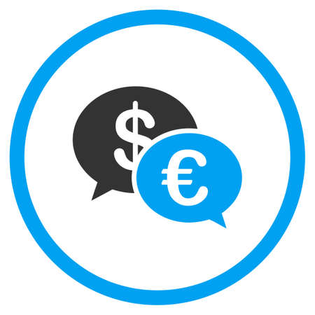 sms payment: Euro And Dollar Transactions vector icon. Style is bicolor flat circled symbol, blue and gray colors, rounded angles, white background.