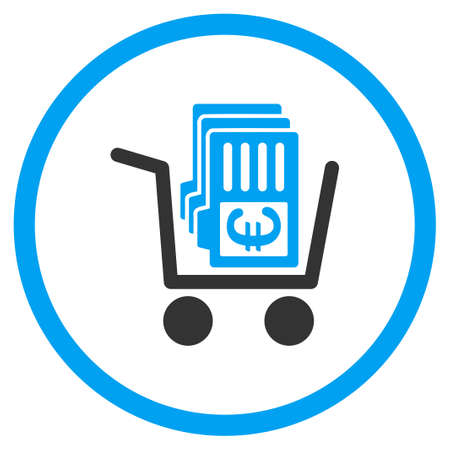nomenclature: Cart Of Euro Cards vector icon. Style is bicolor flat circled symbol, blue and gray colors, rounded angles, white background.