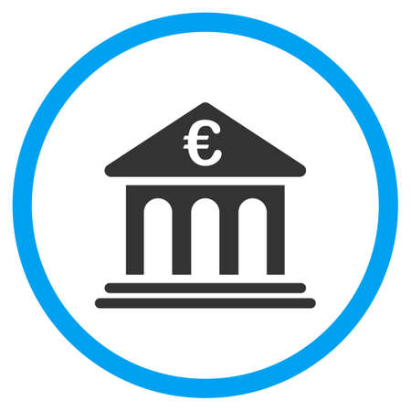 treasury: Euro Bank vector icon. Style is bicolor flat circled symbol, blue and gray colors, rounded angles, white background.