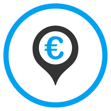 financial position: Euro Map Marker vector icon. Style is bicolor flat circled symbol, blue and gray colors, rounded angles, white background.