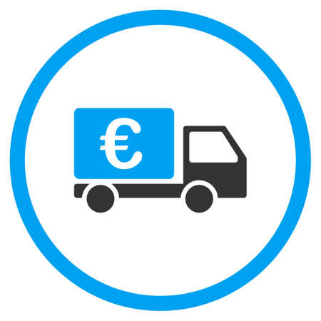 collector: Euro Collector Car vector icon. Style is bicolor flat circled symbol, blue and gray colors, rounded angles, white background. Illustration