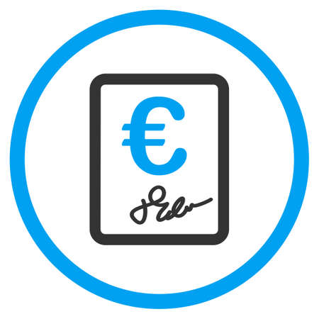 chequebook: Euro Contract vector icon. Style is bicolor flat circled symbol, blue and gray colors, rounded angles, white background. Illustration