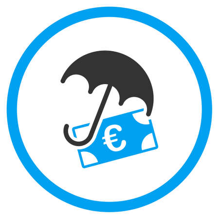 sure: Euro Financial Protection vector icon. Style is bicolor flat circled symbol, blue and gray colors, rounded angles, white background.