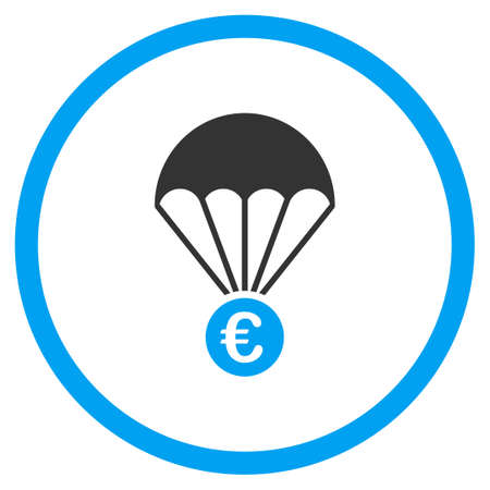 skydiving: Euro Parachute vector icon. Style is bicolor flat circled symbol, blue and gray colors, rounded angles, white background. Illustration