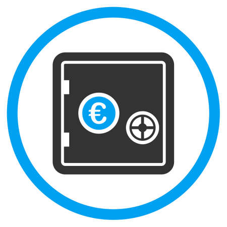 circled: Euro Safe vector icon. Style is bicolor flat circled symbol, blue and gray colors, rounded angles, white background. Illustration