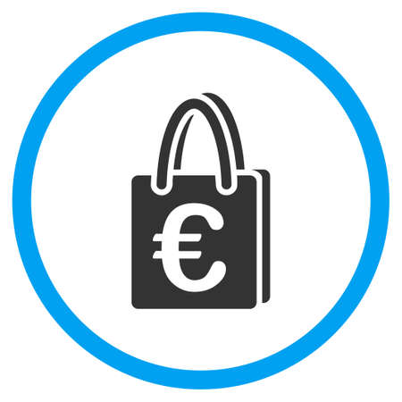 the case selected: Euro Shopping Bag vector icon. Style is bicolor flat circled symbol, blue and gray colors, rounded angles, white background.
