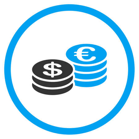 Dollar And Euro Coin Stacks glyph icon. Style is bicolor flat circled symbol, blue and gray colors, rounded angles, white background.