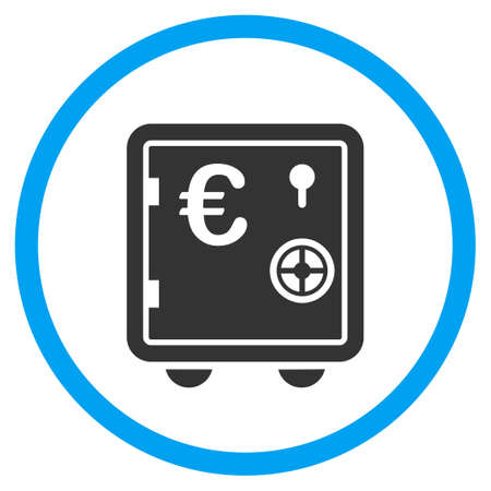 circled: Euro Banking Safe glyph icon. Style is bicolor flat circled symbol, blue and gray colors, rounded angles, white background. Stock Photo