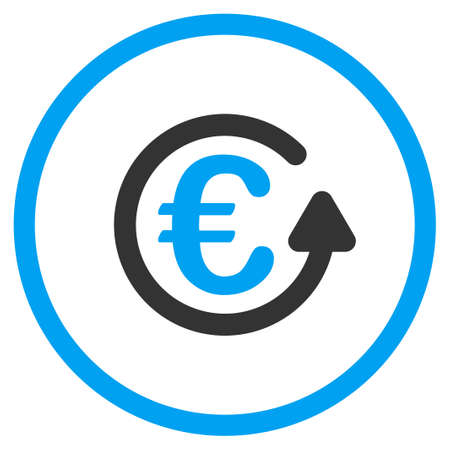 circled: Euro Chargeback glyph icon. Style is bicolor flat circled symbol, blue and gray colors, rounded angles, white background.